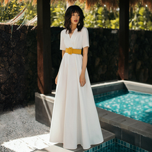 VERRAGEE vintage summer dress women clothes 2019 white Long maxi elegant Dress with belt vestidos