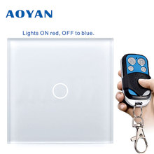 AoYan EU/UK standard 1 Gang 2 Gang 3 Gang 1 Way Wall Touch Switch Luxury Crystal Glass Normal Touch Switch for Smart Home