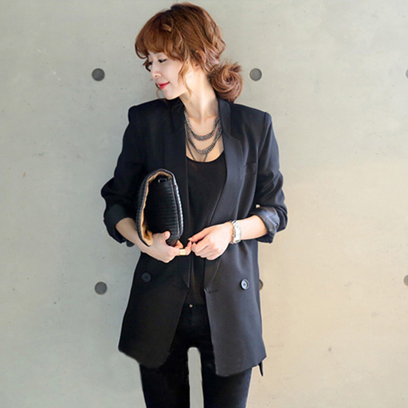 2019 Solid Long Style Black Women Jacket and Blazer Female Notched Collar Asymmetrical Chic Ladies Blazers feminino