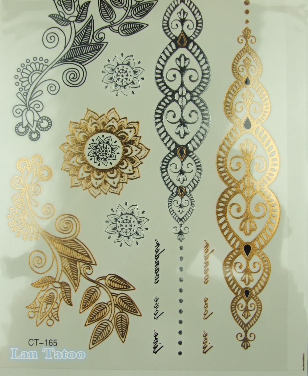 Henna Tattoo Prices : Ct leaf jewelry sticker tattoo metallic golden flash