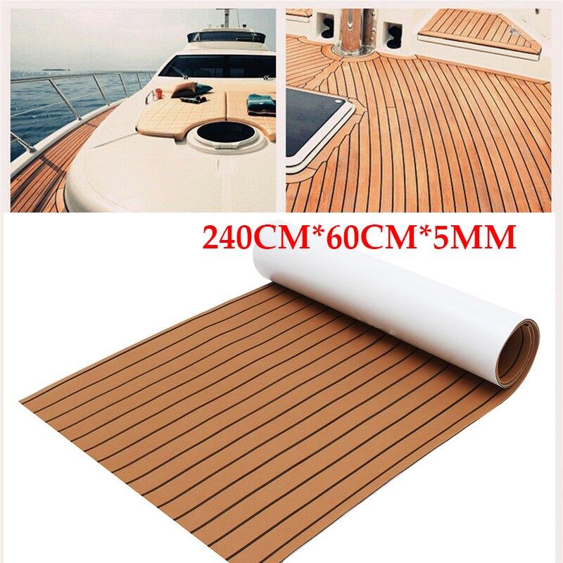 600x2400x5mm auto-adhésif brun noir teck platelage EVA mousse Marine plancher Faux bateau platelage feuille