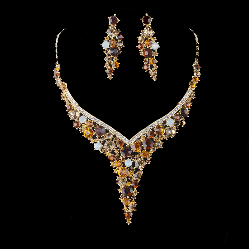 Top quality delicate Crystal jewelry sets Women brown color rhinestone Necklace earrings set bridal wedding Party Earring sets