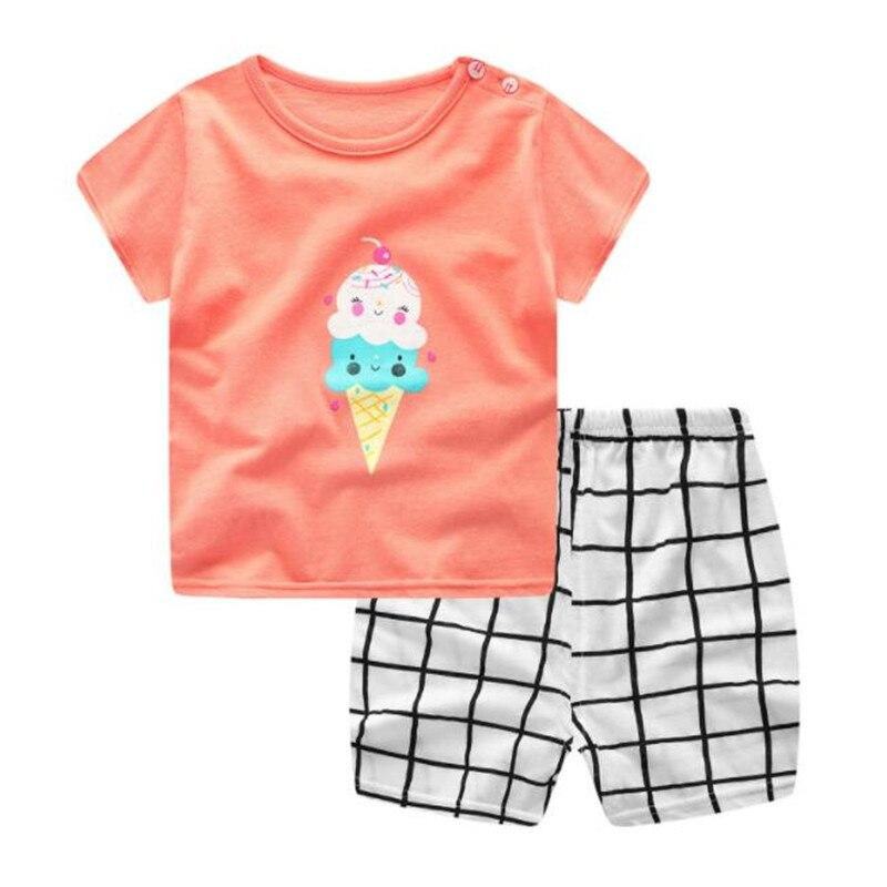 Funfeliz Baby Girl Dresy Letnie Dziewczyny Dresy Casual Z Krótkim - Ubrania dziecięce - Zdjęcie 3