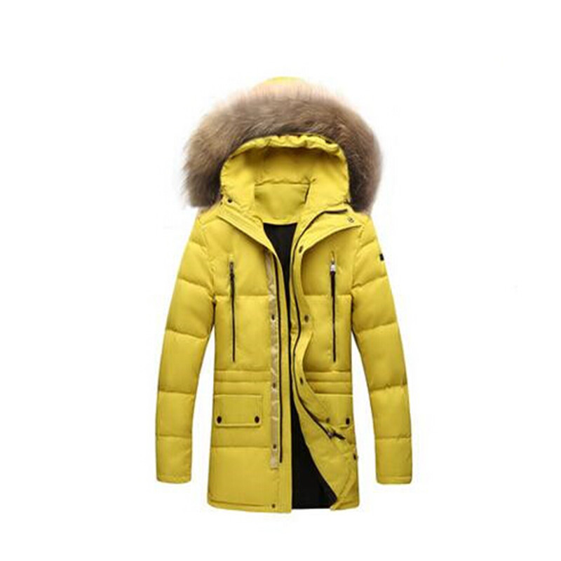 2016 Thick Warm Winter duck Down Jacket for Men Fur Collar Parkas Hooded Coat high quality men winter jacket long