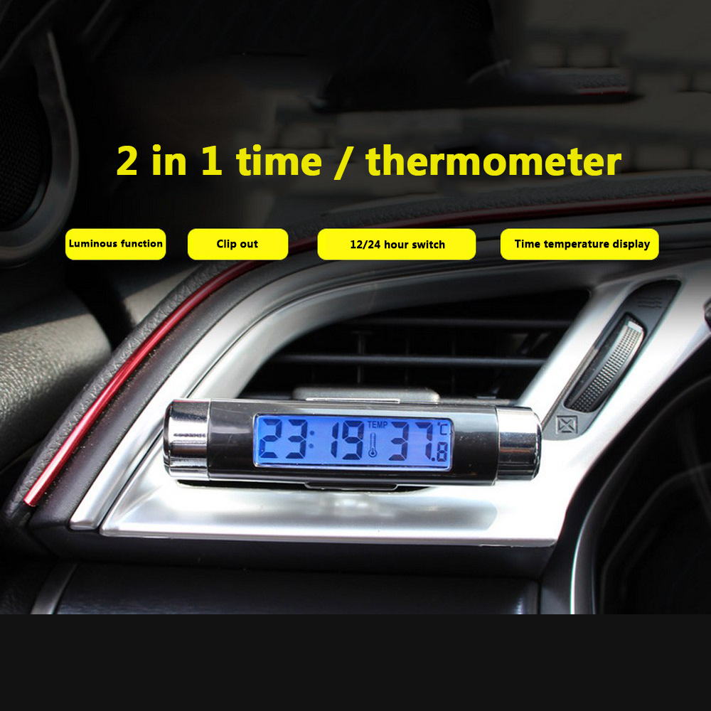 Image 5 - 2 in 1 Car Digital LCD Clock & Temperature Display Blue Light Night Vision Air Vent Outlet Clip On With Clip Auto Accessories-in Clocks from Automobiles & Motorcycles