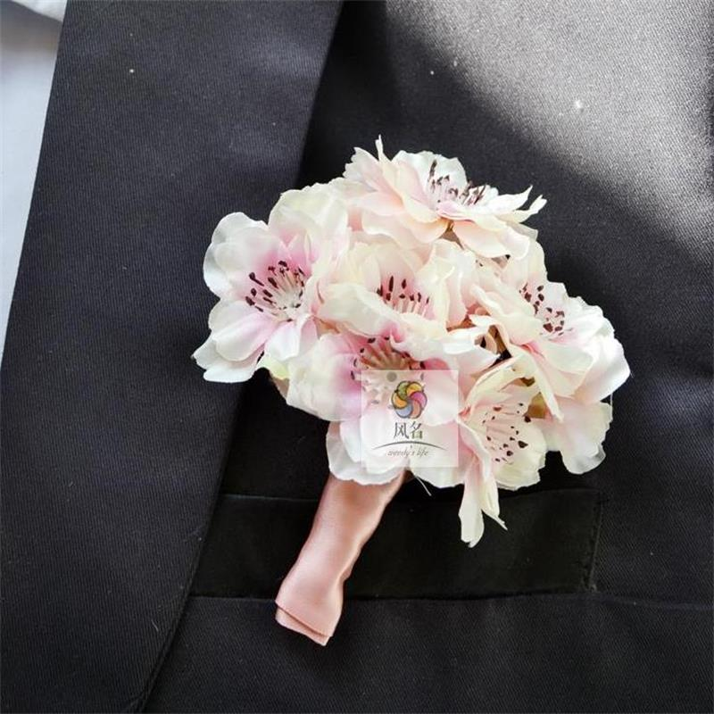 Pink Groom Groomsman Best man Boutonniere Cherry blossoms Flowers ...