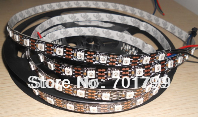 black pcb 4m WS2811 LED digital strip,60leds/m with 60pcs WS2811 built-in the 5050 rgb led chip;non-waterproof,DC5V input