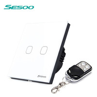 EU UK Standard SESOO Remote Control Switch 2 Gang 1 Way Crystal Glass Switch Panel Remote