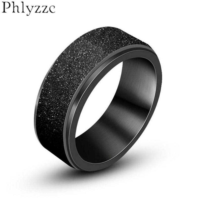 Wedding Band Stainless Steel 8mm: Black Brushed Wedding Band Spinner Ring 8mm Stainless