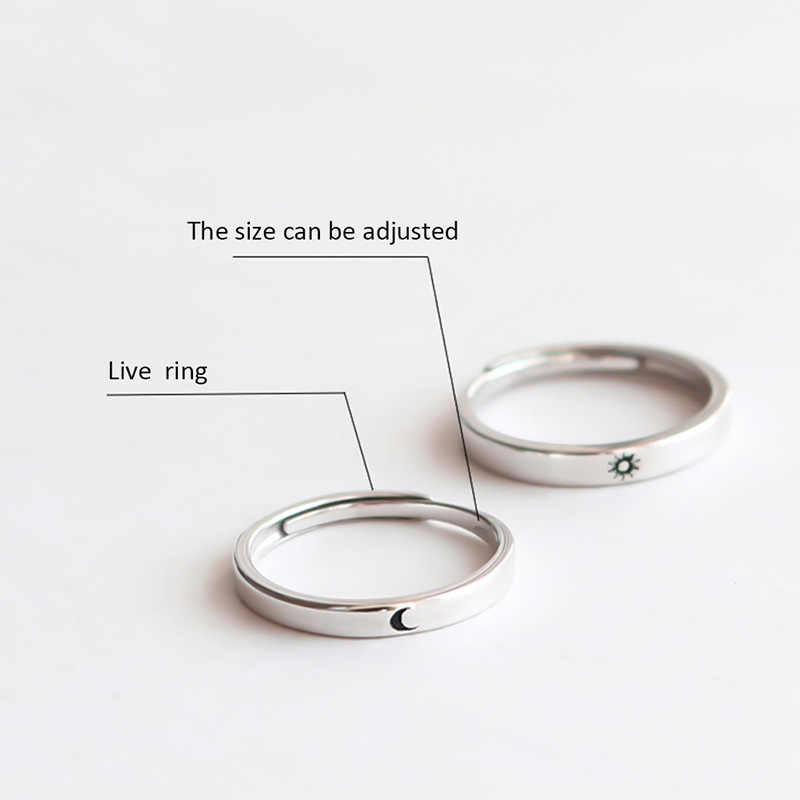 Aleación de Zinc amantes pareja anillos plata sol Luna boda promesa anillo para Mujeres Hombres compromiso joyería fiesta regalo