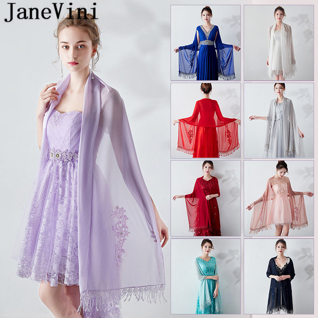JaneVini 2019 Beaded Chiffon Bolero Bride Shawl Wedding Lace Appliques Prom Evening Dresses Shawls Wraps Bridal Capes Stola Blau