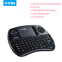 VTIN Wireless bluetooth Keyboard Mini portable 2.4G QWERTY Spanish keyboard with Touchpad for PC,HTPC,X-BOX,Android TV Box