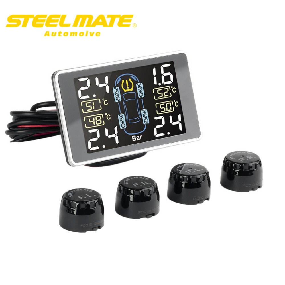 Steelmate TP 11 Car Alarm Tire Pressure Monitoring System with Multicolor LCD Display 4 Valve cap