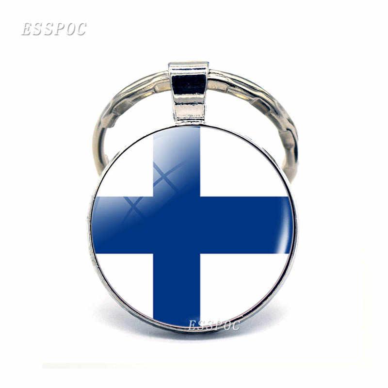 Europa del Norte: Dinamarca, Suecia, Noruega, Noruega, islén, bandera, llavero de joyería de cristal, colgante, regalo del Día Nacional Patriota