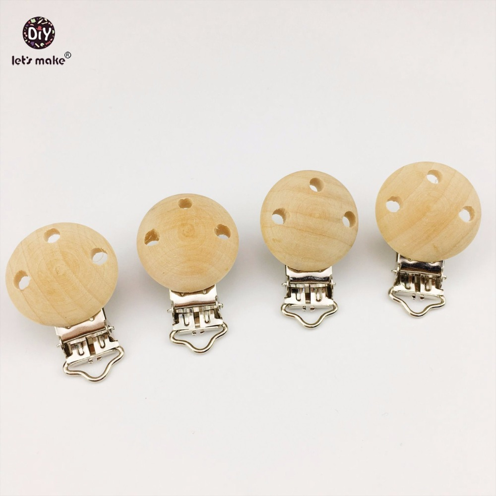 Let's Make 40pcs Wooden Teether Dummy Clip (2.9*4.6 cm) DIY Pacifier Holder Baby Nursing Accessories Can Chew Clips Baby Teether