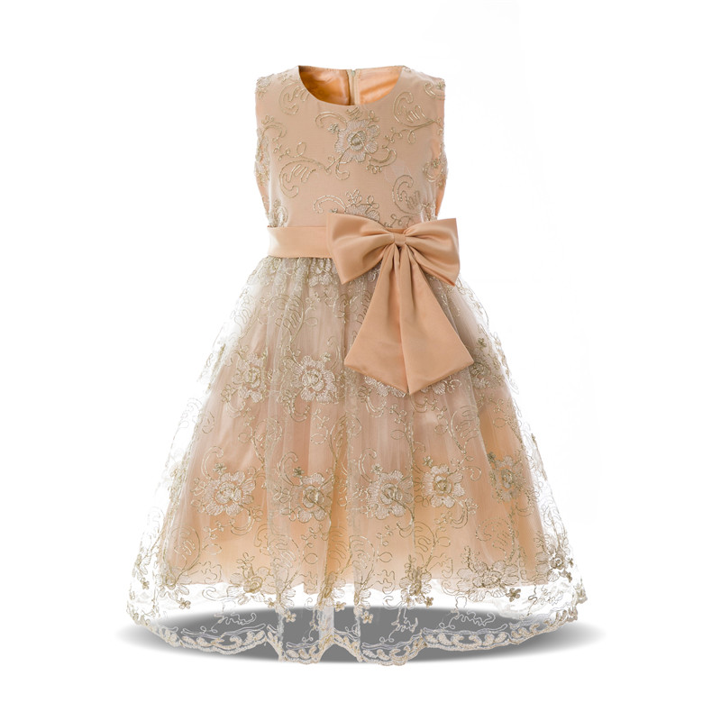 Shining Flower Girl Dresses Embroidery Floral Girls Wear Chiffon Elegant Fancy Dress Kids Princess Clothes for Wedding Party