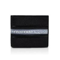 Classical Designer Genuine Stingray Skin Leather Unisex Men's Short Bifold Wallet Photo Holder Man Wallet Male Small Card Purse