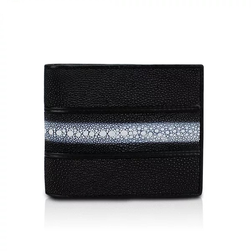 Classical Designer <font><b>Genuine</b></font> Stingray Skin <font><b>Leather</b></font> Unisex <font><b>Men's</b></font> <font><b>Short</b></font> Bifold <font><b>Wallet</b></font> Photo Holder <font><b>Man</b></font> <font><b>Wallet</b></font> Male Small Card Purse image