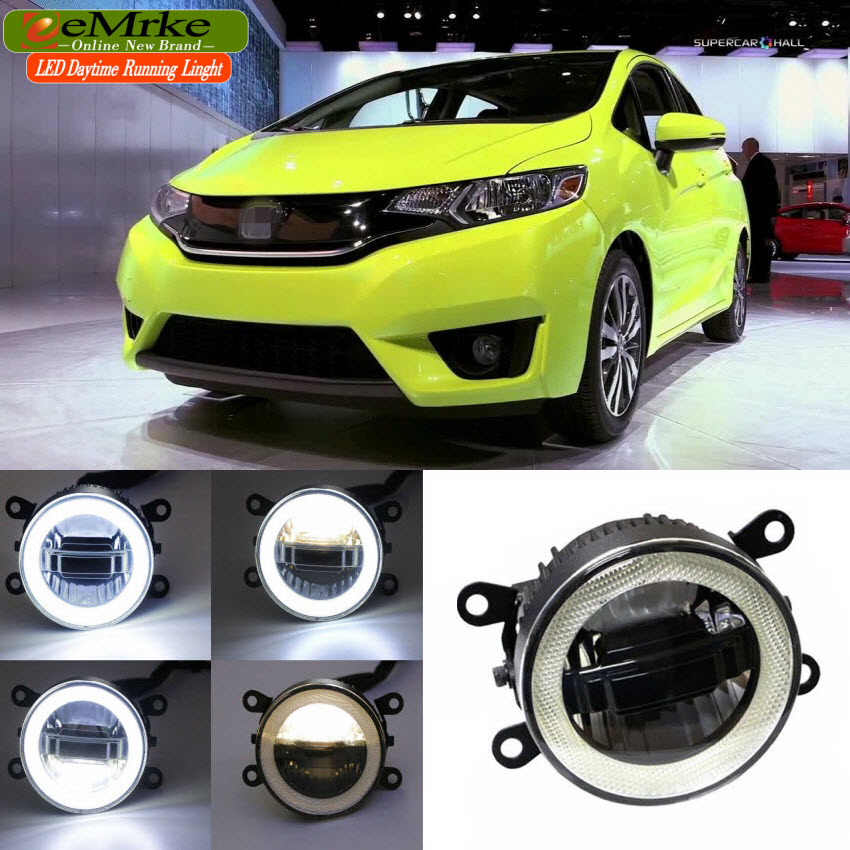 EEMRKE Car Styling For Honda Jazz Fit GK5 2013-up 3 in 1 LED DRL Angel Eye Fog Lamp High Power Daytime Running Lights Accessory high quality chrome rear trunk streamer for honda jazz fit 09 up free shipping brand new