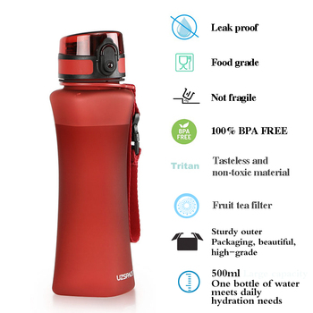 UZSPACE Sports Water Bottles 500ml Fashion 6 Colors Protein Shaker Hiking Travel My Bottle For Water Plastic Drinkware BPA Free 3