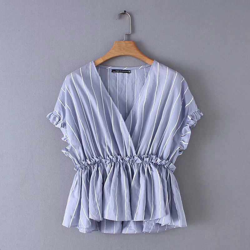 2019 Women Fashion Agaric Lace Striped Blouse Shirts Women Cross V Neck Ruffles Chemise Chic Casual Femininas Blusas Tops LS3343