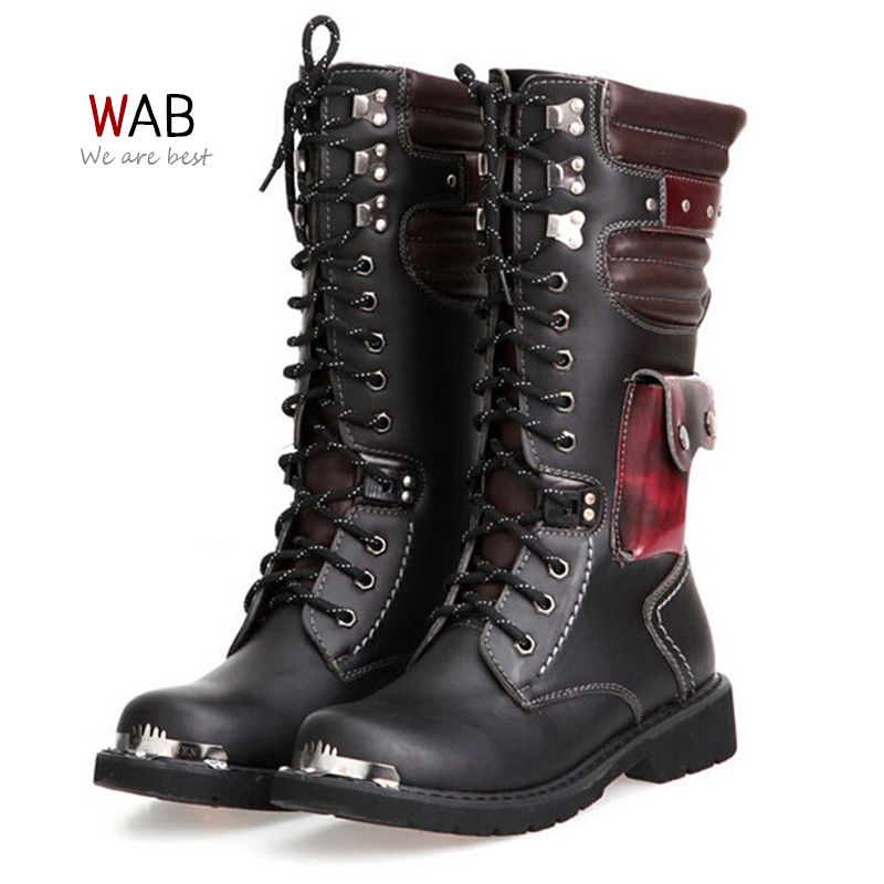 Mens Zip Up Motorcycle Boots
