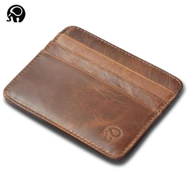 Cartera para hombre, tarjetero, tarjetero para banco, paquete de recogida de cuero de vaca, tarjetero de cuero Delgado, bolsa de paquete de múltiples tarjetas