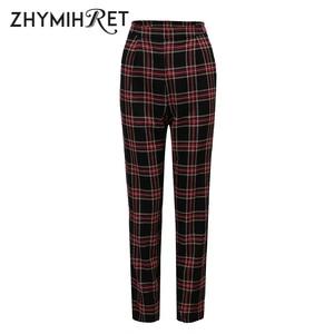 Image 5 - ZHYMIHRET  2020 Autumn Cotton Straight Plaid Womens Pants  Ankle Length Zipper Capris Casual Mid Waist Trousers Pantalon Femme