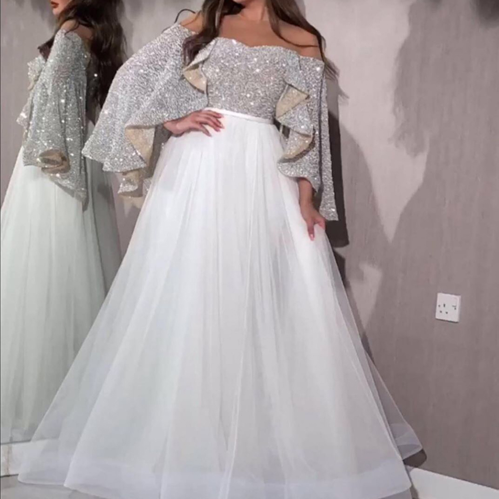 Robes de bal scintillantes paillettes 2020 bestidos de gala manches courtes tulle longueur de plancher tulle longueur de plancher robes de soirée blanc