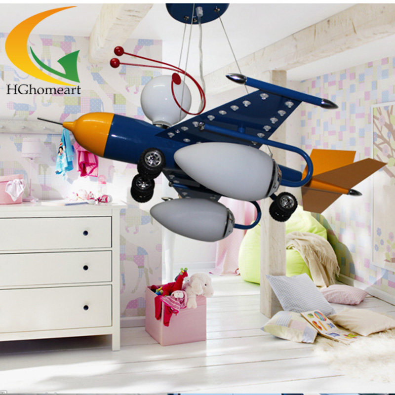 Led chandeliers creative cartoon aircraft led lamp children boy bedroom lamp study chandelier lighting wrought iron chandelier aircraft lamp boy children master bedroom room led chandeliers creative cartoon