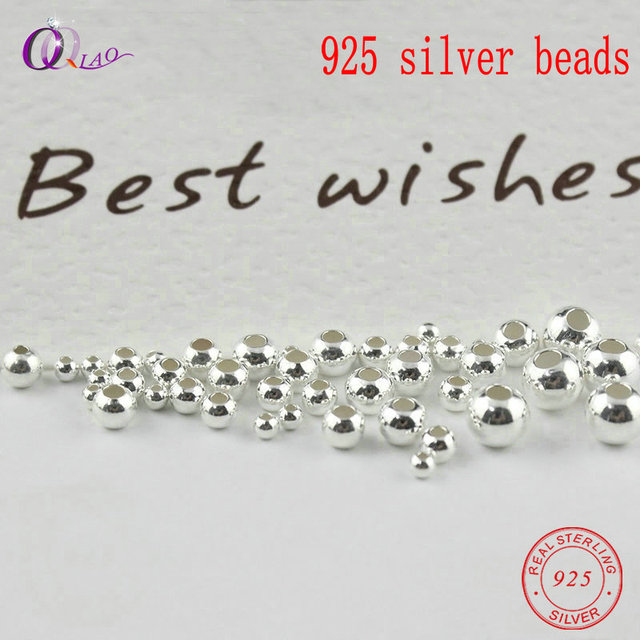 2-5MM 925 sterling silver beads silver 925 jewelry Findings Accessories round smooth jewelry beads for silver bracelet&necklace