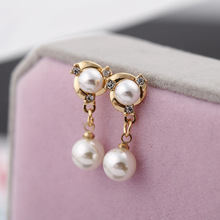 Hot accessories earrings High-grade pearl encrusted opal pendants Elegant temperament female small stud
