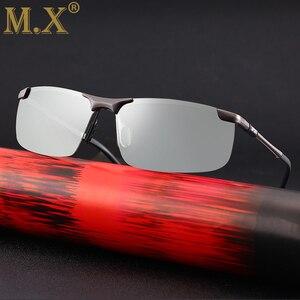 Image 2 - Мужские квадратные фотохромные солнцезащитные очки, поляризованные винтажные черные солнцезащитные очки для вождения, 2019