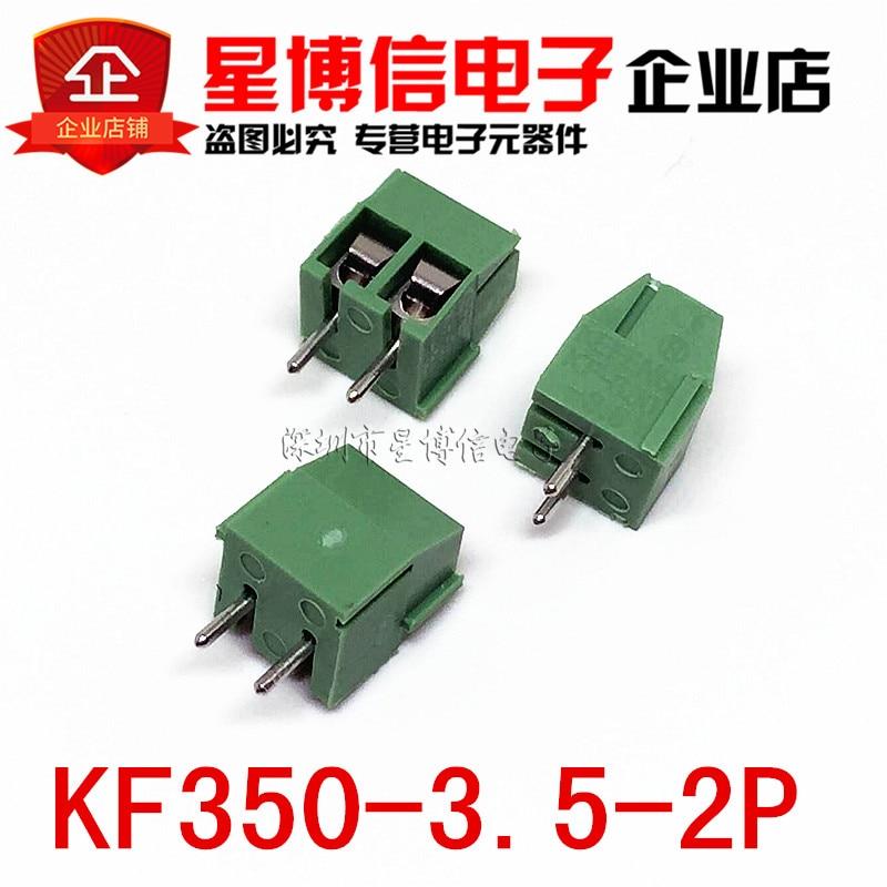 500 Stks Kf350-3.5-2p Kf350-2p Kf350 2pin 3.5mm Hoge Kwaliteit Milieu Koperen Voeten Straight Pin Pcb Schroefklemmenblok Modieuze Patronen