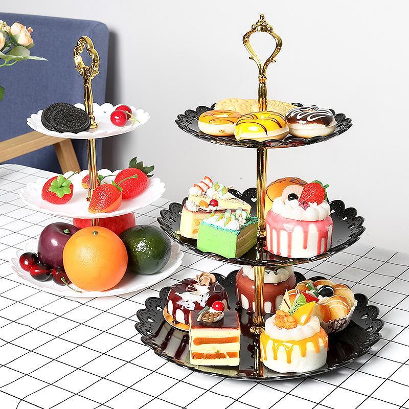 Трехслойная тарелка с фруктами для свадебной вечеринки, десертный поднос, конфетные блюда для тортов, стойка для буфета, стеллаж для домашнего декора стола-1