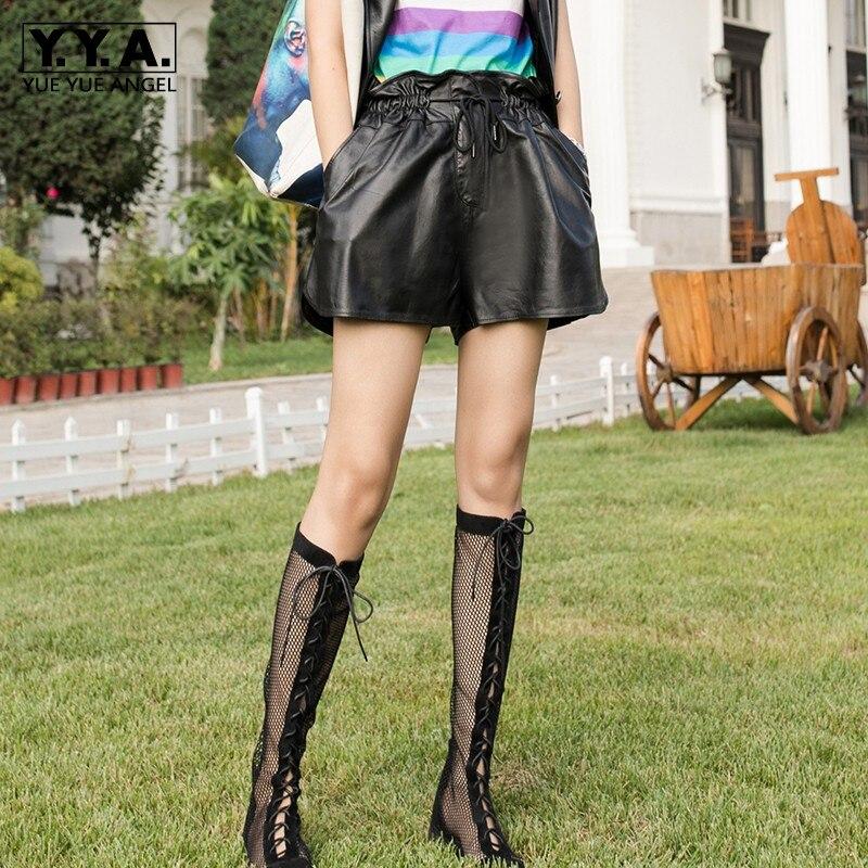Loose Shorts High-Waist Casual-Pockets Fashion Genuine-Leather Women Drawstring Sheepskin