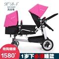 Kds gêmeos do bebê carrinho de criança dobrável duplo dianteiro e traseiro