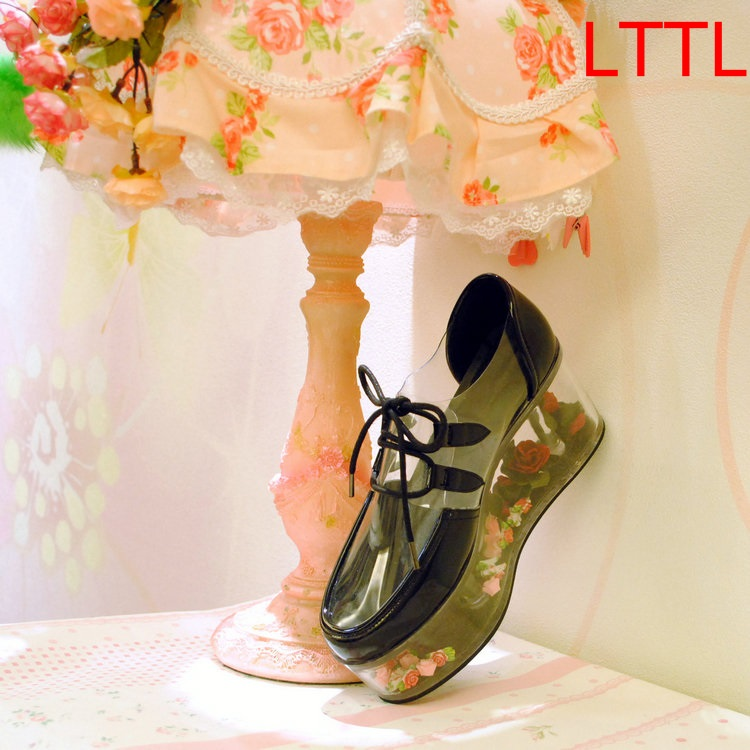 Newest Round Toe Shallow Pumps High Heel Pumps Lace up Pumps Flowers Decoration Women Dress Party Shoes Free Ship 2017