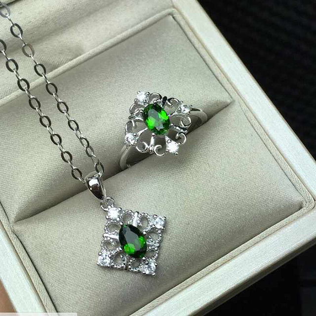 Geometric Shape Natural Gemstone Jewelry Green Diopside White Gold Women 925 Silver Wedding Ring/Necklace Jewelry Sets YJS018