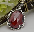 Free shipping 2015 fashion Edward authentic explosion in 1910 filigree oval garnet 100% pure silver pendant with women