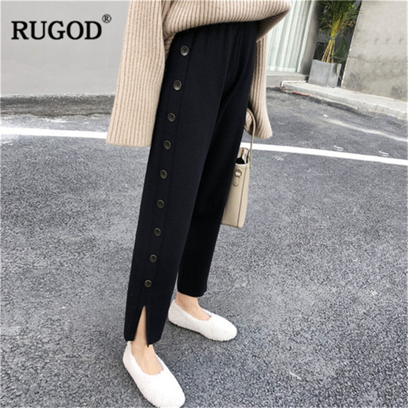 RUGOD Winter   pants   women Fashion side button solid Knitted split   Wide     leg     pants   female office lady Hight waist long trousers