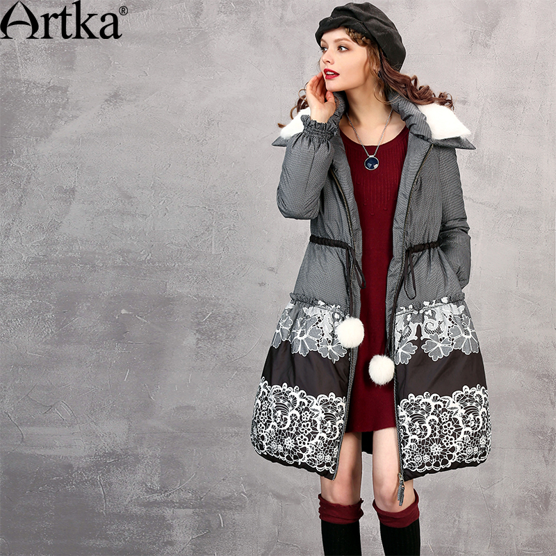 ARTKA Women's Winter Jacket 2018 Duck   Down   Parka With Removable Fur Collar Ladies Overcoat Thick   Down     Coat   With Belt ZK11266D