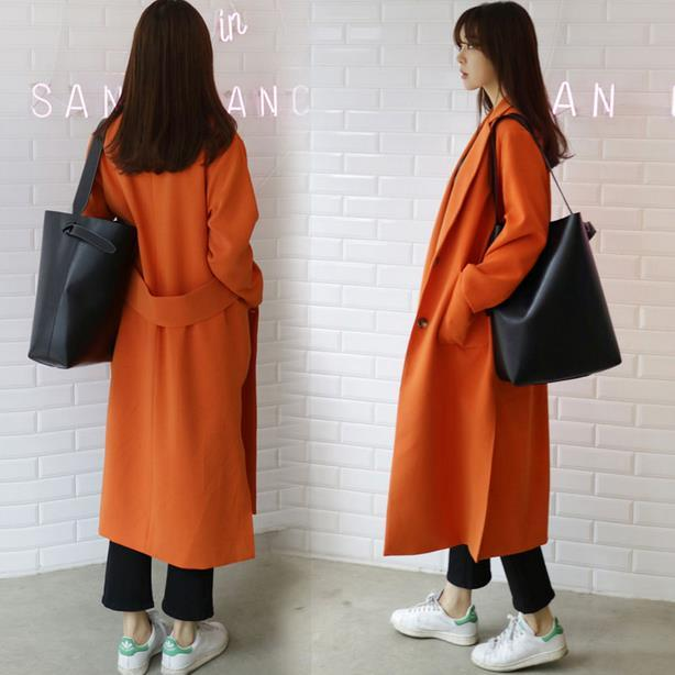 spring and autumn x-long women 's suits large size coat casual loose windbreaker trench xxxl