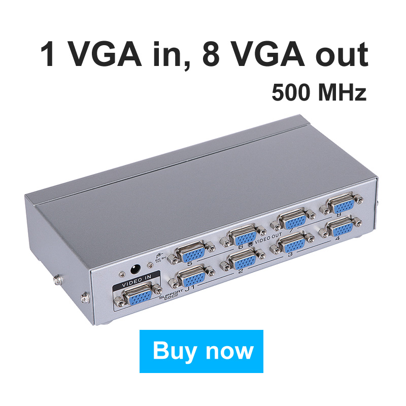 MT-VIKI VGA Video Splitter Distributor Duplicator 1 In 8 Out for large widescreen LCD Monitor Projector mt-5008