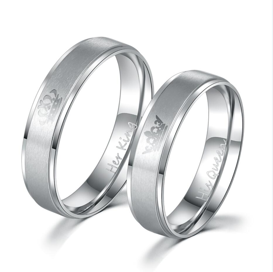 stainless steel HIS QUEEN and HER KING couple rings for lovers  Кольцо