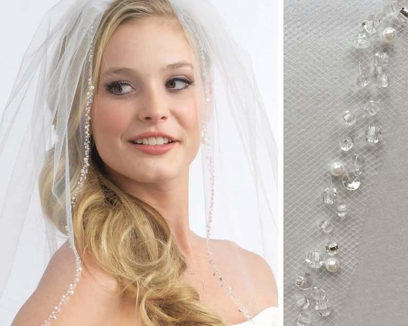 Pearl Wedding Veil, Crystal Bridal Veil, Beaded Veil, Ivory  White  Elbow Veil