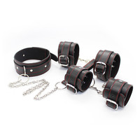 Black PU Leather Neck Collar Hand Cuffs Ankle Cuffs Hands Wrist Ankle Restraint Bondage BDSM Sex