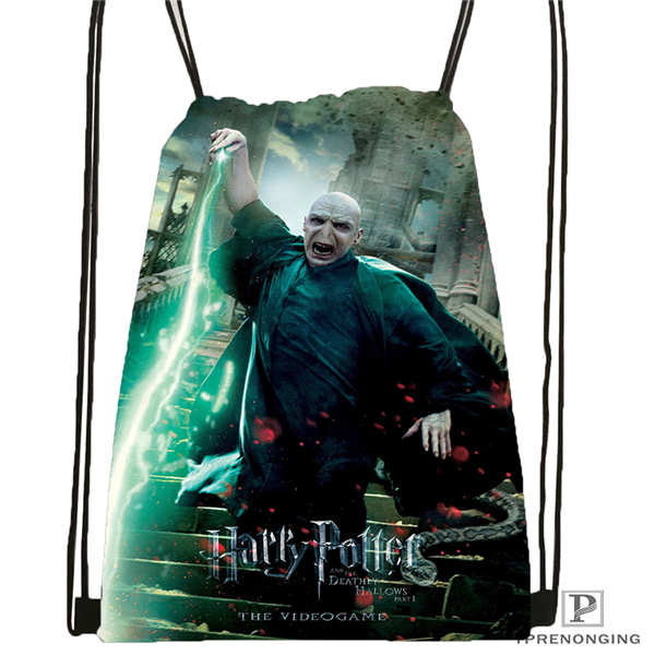Custom Harry-potter Drawstring Backpack Bag Cute Daypack Kids Satchel (Black Back) 31x40cm#2018612-02-13
