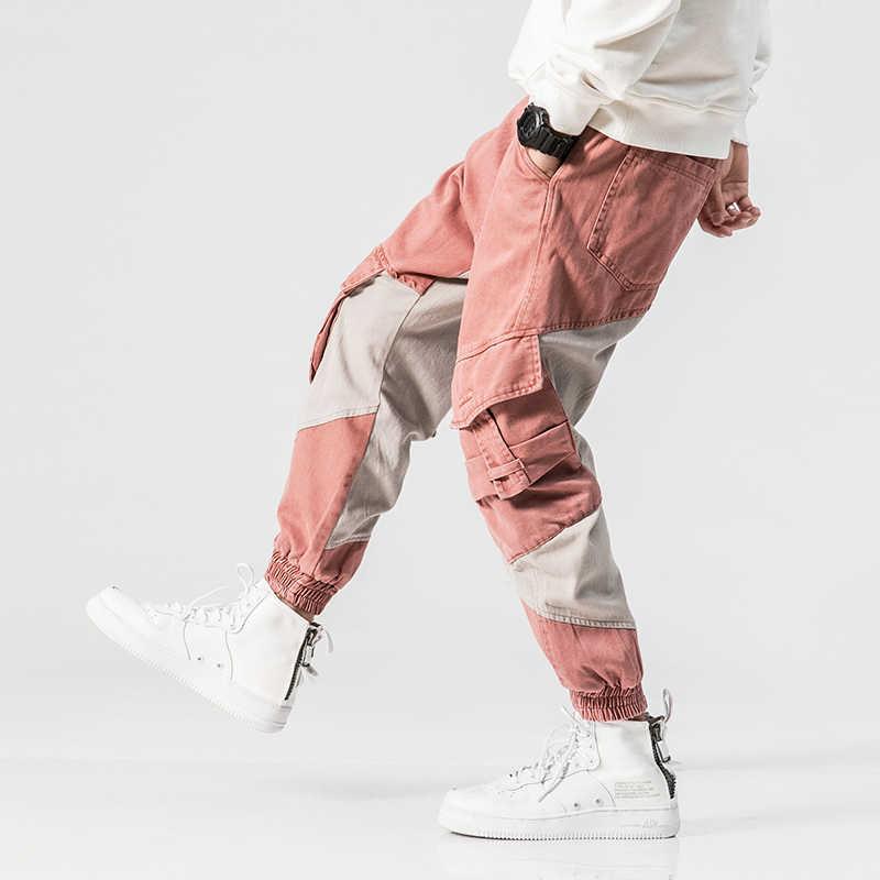 2018 Высокая уличная мода для мужчин джинсы для женщин розовый цвет большой карман штаны-карго сращены хип хоп Jogger джинсы