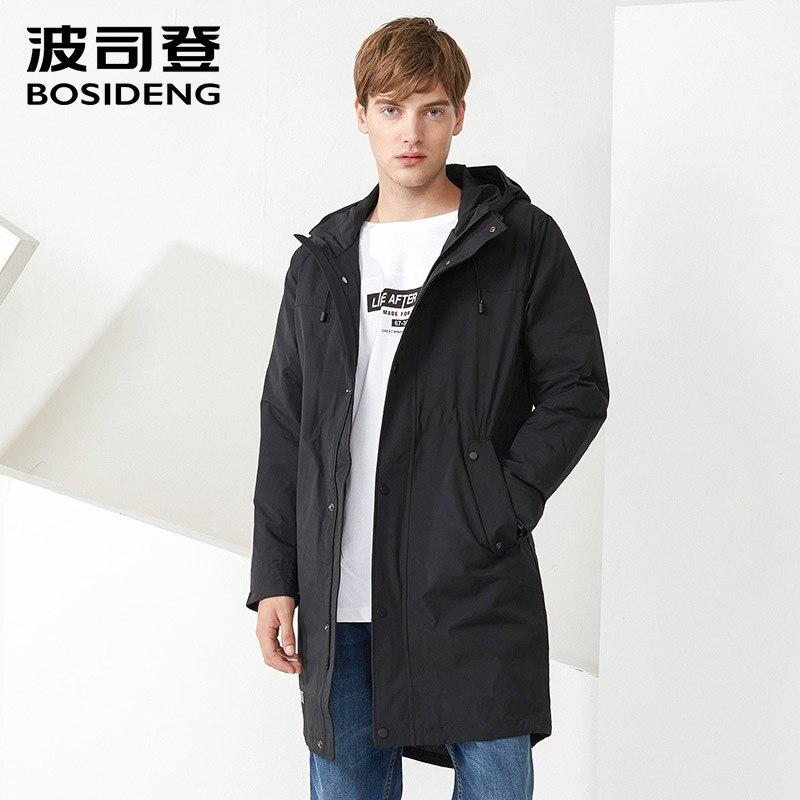 BOSIDENG мужская легкая пуховая куртка съемный вкладыш Длинная ветровка с капюшоном пуховое пальто Зимняя теплая парка B70132115